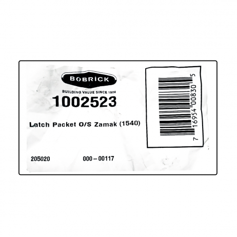 Scanned packaging of the Bobrick Out-Swing Latch Packet - 1002523.