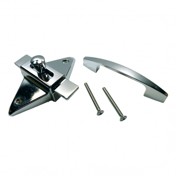 Photograph showing components included in the Bobrick Out-Swing Latch Packet - 1002523.