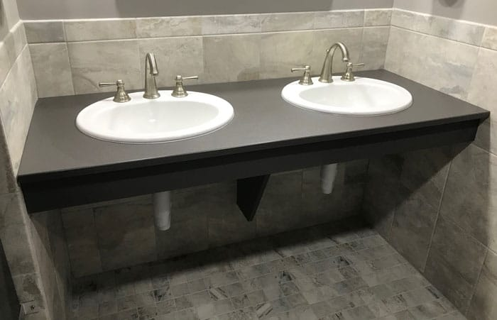 Photograph of HDPE vanity for public restroom.