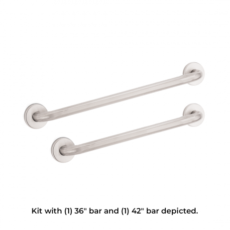 "Photo composite with text showing two Bobrick B-6806 grab bars: one 36"" and one 42""."