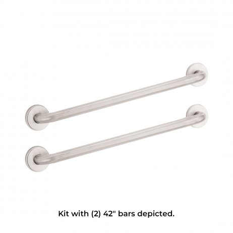 "Photo composite with text showing two Bobrick B-6806 grab bars: two 42"" units."