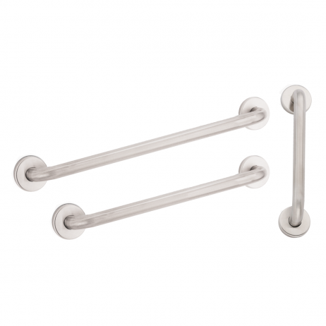 "Composite image of three grab bars against a white background: (1) 18"" bar, (1) 36"" bar, and (1) 42"" bar."