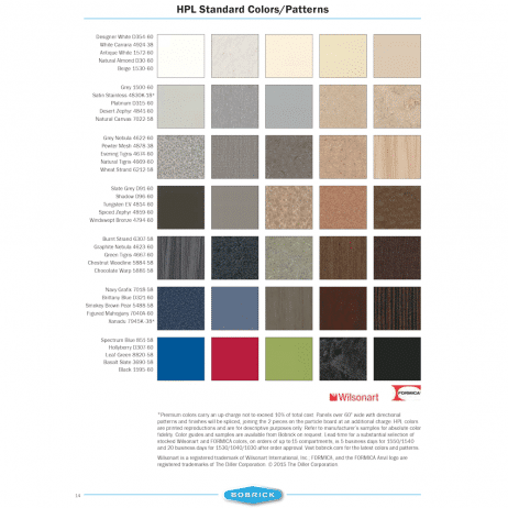 Color chart graphic for Bobrick high-pressure laminate.