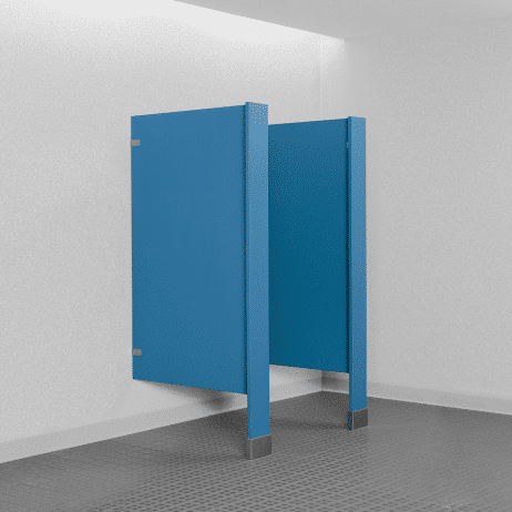 Photograph of Bobrick floor-mounted urinal screens in plastic laminate.