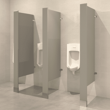 Photograph of Hadrian floor mounted urinal screens in powder-coated steel.