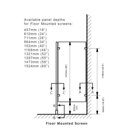 Elevation drawing of Hadrian floor-mounted urinal screen.