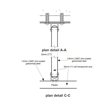 Plan view drawing of Hadrian floor-mounted urinal screen.