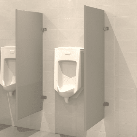 Photograph of Hadrian wall hung urinal screens in powder-coated steel.
