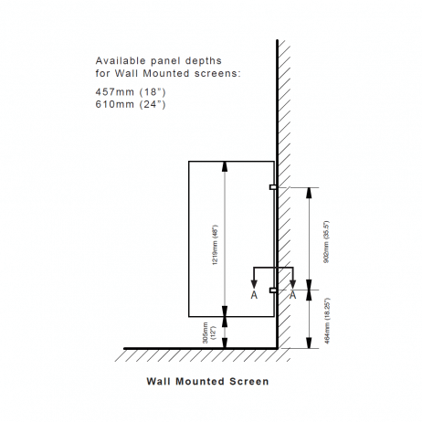 Elevation line drawing of Hadrian wall-hung urinal screen.