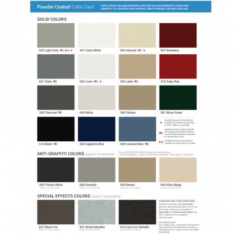 Color chart graphic for Hadrian powder-coated steel.