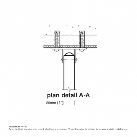 Plan view drawing of the Hadrian wall-hung urinal screen.
