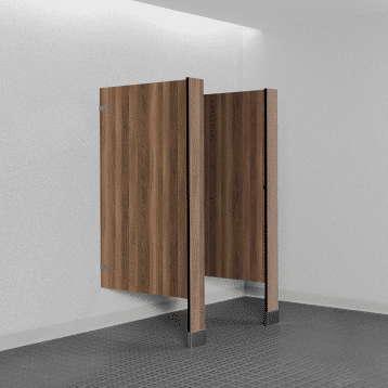 Photograph of Bobrick floor-mounted urinal screens in solid phenolic.