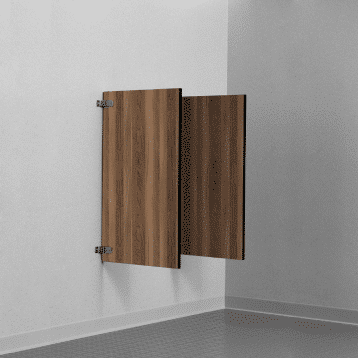 Photograph of Bobrick wall-hung urinal screens in solid phenolic.