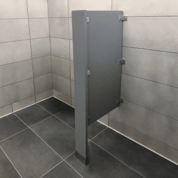 Photograph of Scranton Products floor-mounted urinal screens in HDPE.
