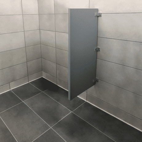 Photograph of Scranton Products wall-hung urinal screens in HDPE.