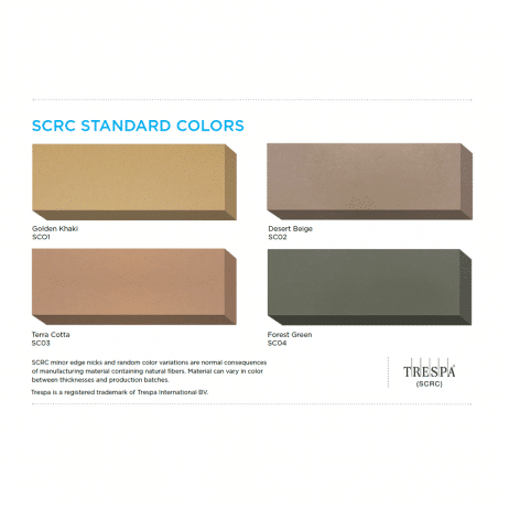Color chart graphic for Bobrick solid-core reinforced composite.