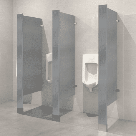 Photograph of Hadrian floor mounted urinal screens in stainless steel.