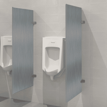 Photograph of Hadrian wall hung urinal screens in stainless steel.