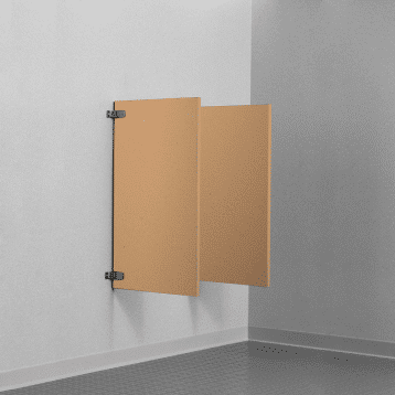 Photograph of Bobrick wall hung urinal screens in solid core reinforced composite.