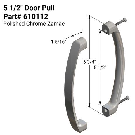 """Diagram of Hadrian 610112 5-1/2"""" Door Pull Kit"""