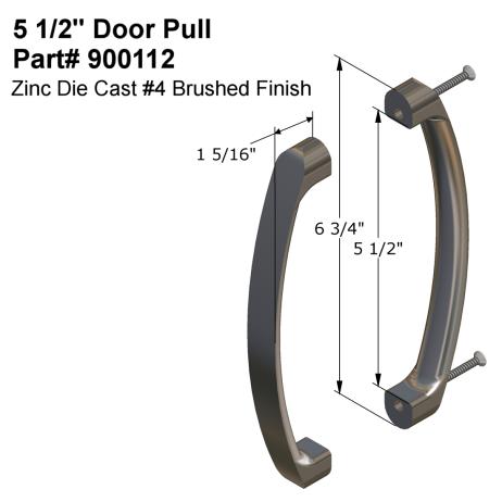 """Diagram of Hadrian 900112 5-1/2"""" Door Pull Kit"""