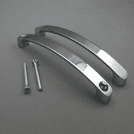 Photograph of Hadrian Back-to-Back Door Pull Kit in chrome finish.