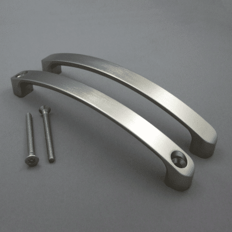 Photograph of Hadrian Back-to-Back Door Pull Kit in stainless finish.