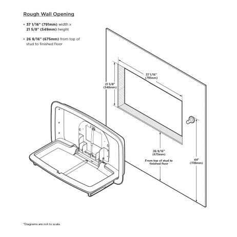 Wall cut out required for Koala Kare KB310-SSRE horizontal recessed baby changing station.