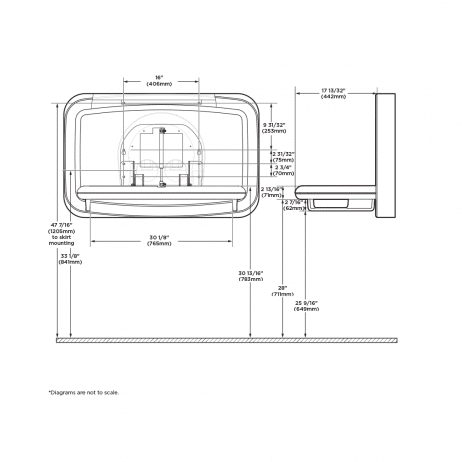 Diagram showing the dimensions of the Koala Kare KB311-SSWM horizontal surface mount baby changing station when open.