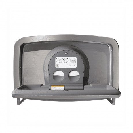 Koala Kare KB310-SSRE horizontal recessed baby changing station viewed head-on and open.
