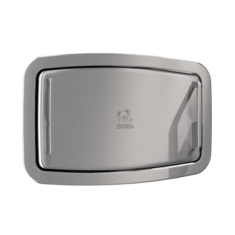 Koala Kare KB310-SSRE horizontal recessed baby changing station viewed against white, at an angle.