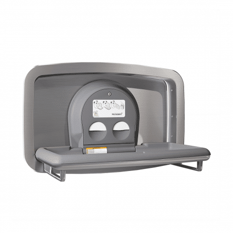 Koala Kare KB310-SSRE horizontal recessed baby changing station shown with the changing surface open.