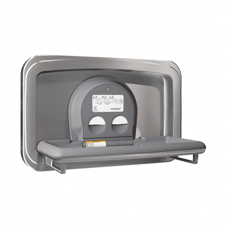 Koala Kare KB310-SSWM horizontal surface-mount baby changing station with the changing surface open.