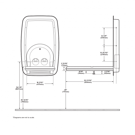 Diagram showing Koala Kare KB311-SSRE vertical recess-mount baby changing station when open.