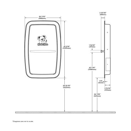 Diagram showing Koala Kare KB311-SSRE vertical recess-mount baby changing station.