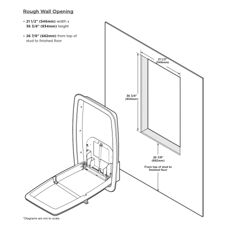 Wall cut out required for Koala Kare KB311-SSRE vertical recess-mount baby changing station.