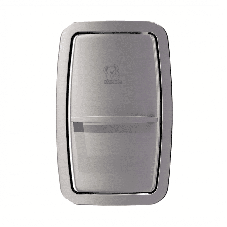Koala Kare KB311-SSRE vertical recess-mount baby changing station, head-on, closed.