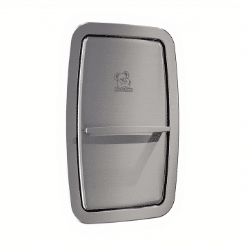 Koala Kare KB311-SSRE vertical recess-mount baby changing station, shown with changing surface stowed.