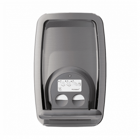 Koala Kare KB311-SSRE vertical recess-mount baby changing station, shown open, head-on.