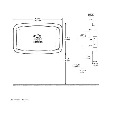 Diagram showing Koala Kare KB310-SSRE horizontal recessed baby changing station.