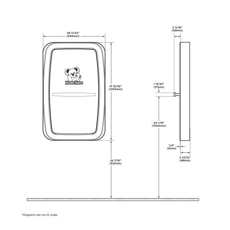 Diagram showing Koala Kare KB311-SSWM vertical surface-mount baby changing station dimensions.