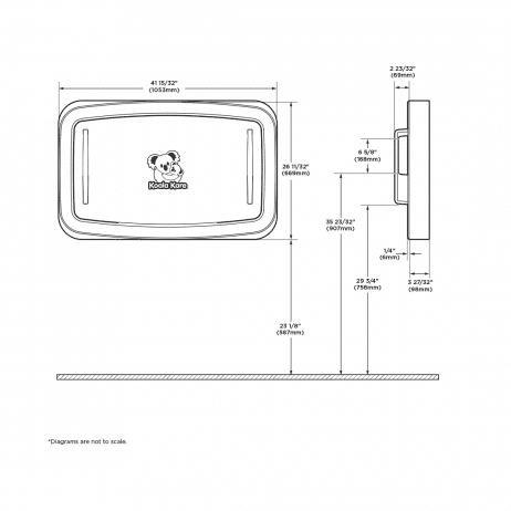 Diagram showing the dimensions of the Koala Kare KB311-SSWM horizontal surface mount baby changing station when closed.