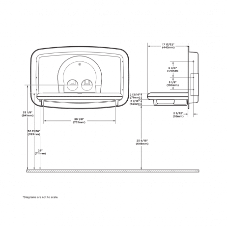Diagram showing Koala Kare KB310-SSRE horizontal recessed baby changing station when open.