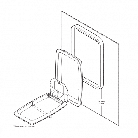 Positioning Koala Kare KB311-SSWM vertical surface-mount baby changing station on bathroom wall.
