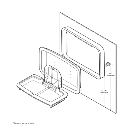 Positioning the Koala Kare KB311-SSWM horizontal surface mount baby changing station against the wall.