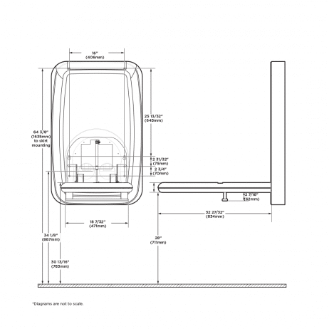 Diagram showing Koala Kare KB311-SSWM vertical surface-mount baby changing station dimensions, when open.