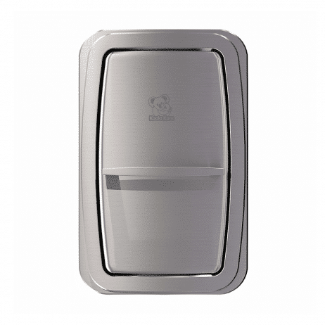 Koala Kare KB311-SSWM vertical surface-mount baby changing station dimensions shown closed, head-on.