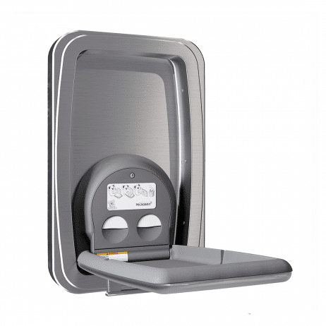 Koala Kare KB311-SSWM vertical surface-mount baby changing station shown with the changing surface open.