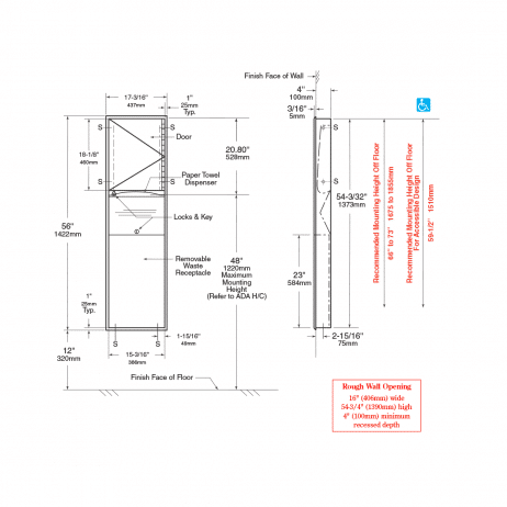 Line drawing of Bobrick Flush Mount Recessed Waste Receptacle and Towel Dispenser Combination Unit B-3940.