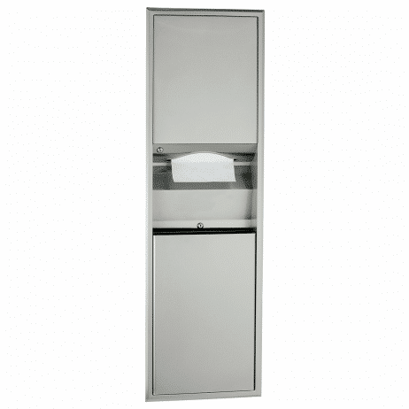 Photograph of Bobrick Flush Mount Recessed Waste Receptacle and Towel Dispenser Combination Unit B-3940.